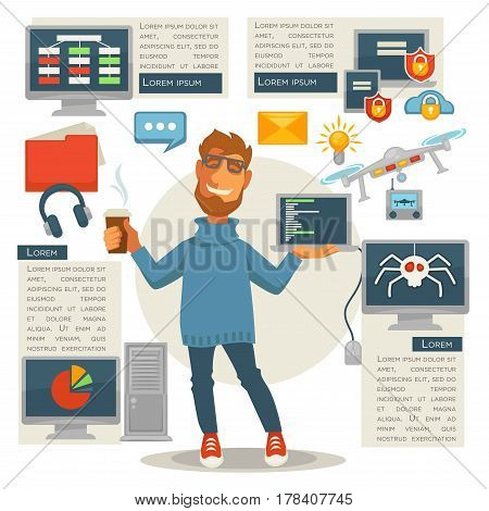 Poster in programming concept. Programmer man standing with laptop and takeaway coffee cup, computer devices logo templates round him. Vector colorful illustration of electronic equipments signs