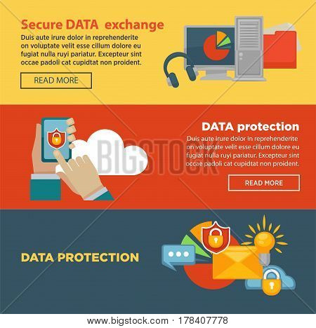 Secure data exchange and protection program Internet page with information. Protect device from undesirable access to personal files. Security app advertising web site vector illustration banners set