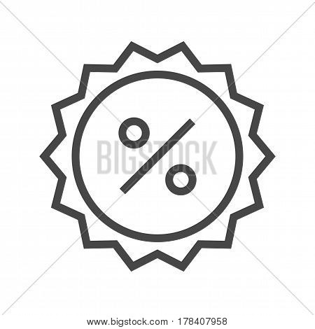 Percent Badge Thin Line Vector Icon. Flat icon isolated on the white background. Editable EPS file. Vector illustration.