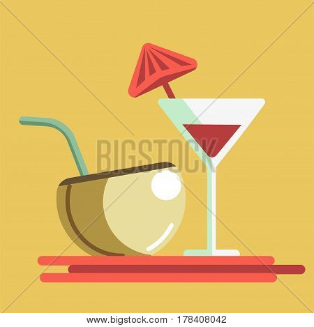 Refreshing summer cocktails in martini glass with small umbrella and in half of coconut with straw isolated on yellow background. Cool beach drinks vector illustration. Holidays in hot country concept