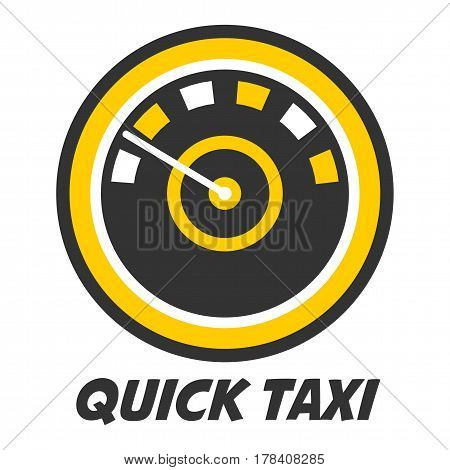 Quick taxi emblem logo design with color speedometer icon isolated on white. Automobile speedo with circles logotype. Vector illustration of speed taxicab for transportation service company promotion