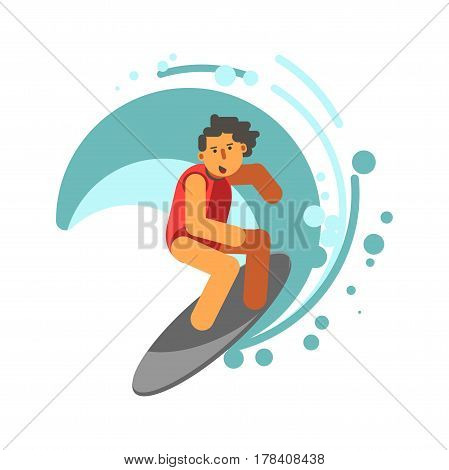 Boy on surfing board under blue aqua wave vector illustration. Picture in flat design of young male person spending time active in sea or ocean by doing sport. Summer water game template icon
