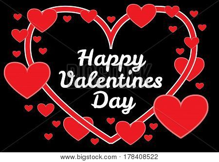 Happy Valentine's Day red heart on black background vector illustration.
