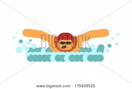 Young swimmer breathes in air before submerging in water isolated on white with aqua waves. Vector illustration of muscular man in protective glasses and red swimming cap in flat design cartoon style.