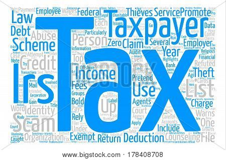 Highlights of IRS List of Tax Scams text background word cloud concept