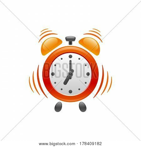 Design of alarm clock with vibration on white background. Its vibrating and ringing at 07:00 am for you wake up. Vector icon.