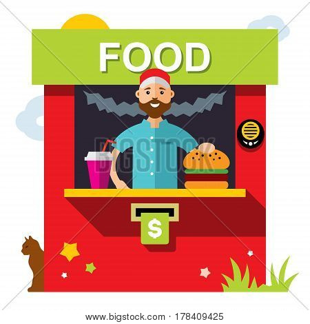 Seller food and beverages. Isolated on a white background