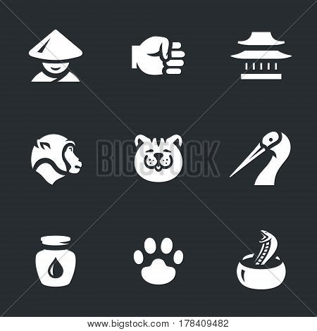 Monk, fist, dojo, monkey, tiger, crane, jug wine, paw, snake.