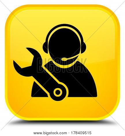 Tech Support Icon Special Yellow Square Button
