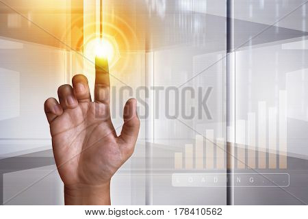 Modern future digital touch screen technology connection