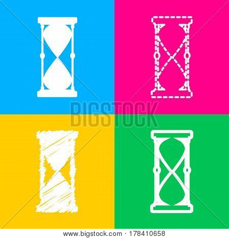 Hourglass sign illustration. Four styles of icon on four color squares.