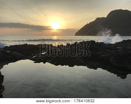 A beautiful sunrise from Makapu'u tidepools in Honolulu, Hawaii.