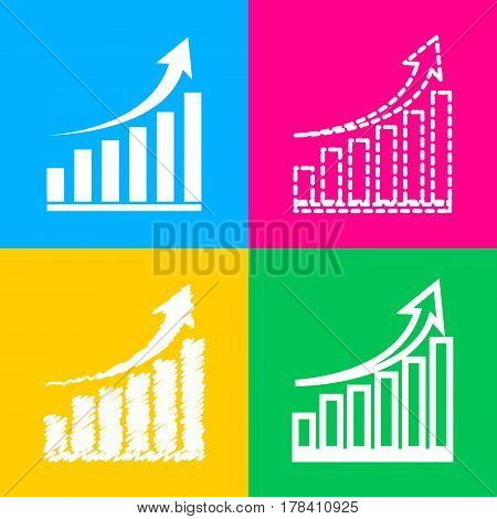 Growing graph sign. Four styles of icon on four color squares.