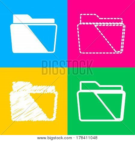 Folder sign illustration. Four styles of icon on four color squares.
