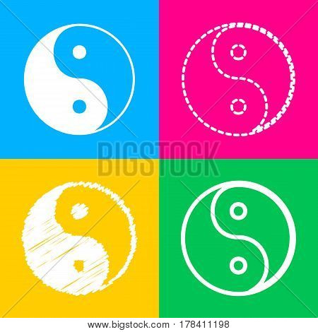 Ying yang symbol of harmony and balance. Four styles of icon on four color squares.
