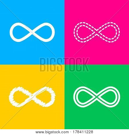 Limitless symbol illustration. Four styles of icon on four color squares.