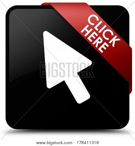 Click Here Black Square Button Red Ribbon In Corner
