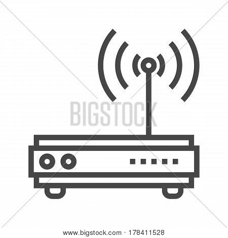 Router Thin Line Vector Icon Isolated on the White Background.