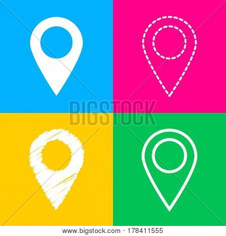 Mark pointer sign. Four styles of icon on four color squares.