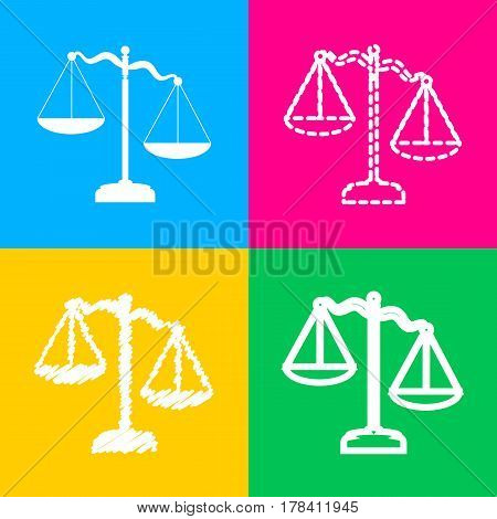 Scales of Justice sign. Four styles of icon on four color squares.