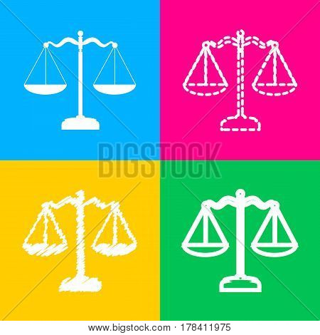 Scales balance sign. Four styles of icon on four color squares.