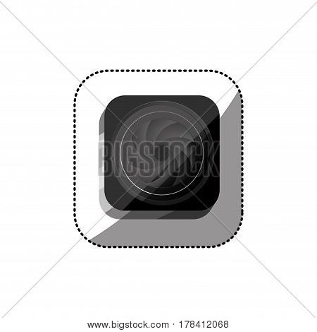 sticker color square button with analog camera lens vector illustration