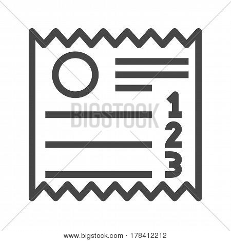 Sales Receipt Thin Line Vector Icon. Flat icon isolated on the white background. Editable EPS file. Vector illustration.