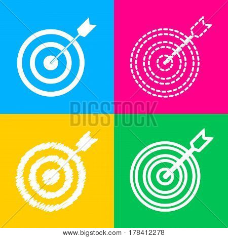 Target with dart. Four styles of icon on four color squares.