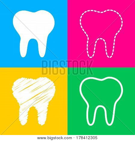 Tooth sign illustration. Four styles of icon on four color squares.