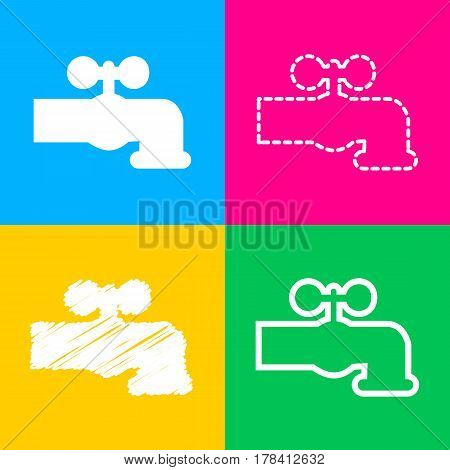 Water faucet sign illustration. Four styles of icon on four color squares.