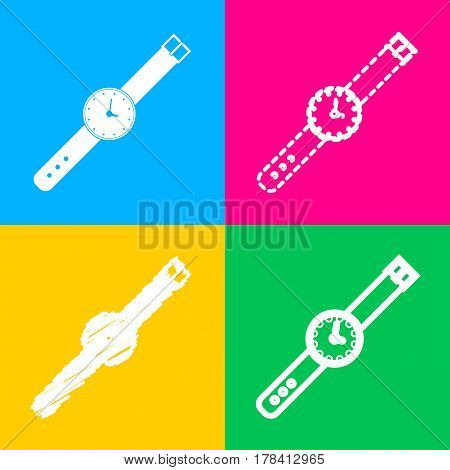 Watch sign illustration. Four styles of icon on four color squares.