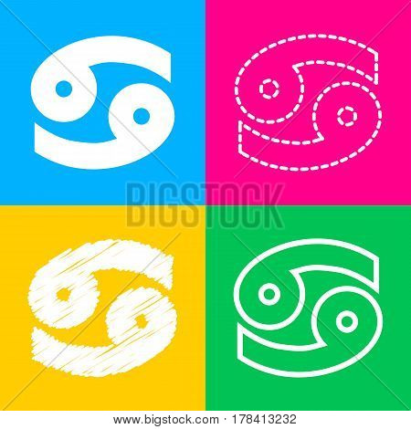 Cancer sign illustration. Four styles of icon on four color squares.