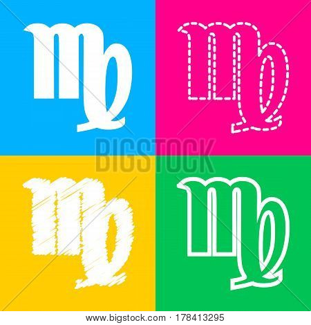 Virgo sign illustration. Four styles of icon on four color squares.