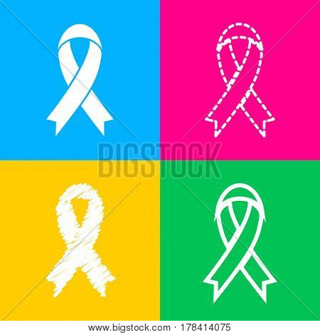 Black awareness ribbon sign. Four styles of icon on four color squares.