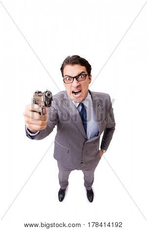 Businessman with handgun isolated on the white background