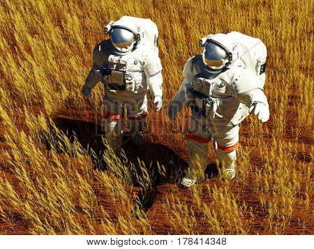 Two astronauts on a yellow field.,3d render