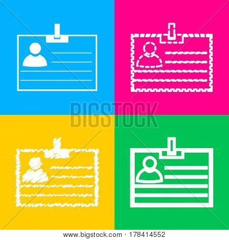 Id card sign. Four styles of icon on four color squares.