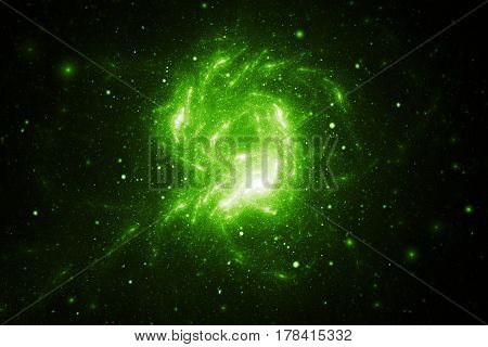Abstract Green Sparkles On Black Background. Fantasy Fractal Texture. Digital Art. 3D Rendering.