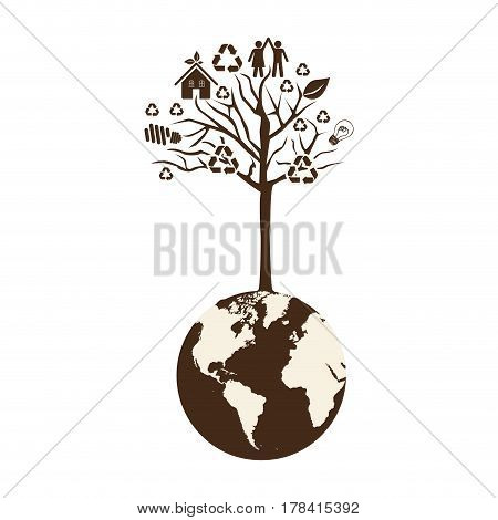 brown color world with tree of recycling vector illustration