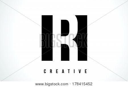 R White Letter Logo Design With Black Square.