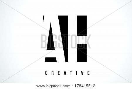 Ah A H White Letter Logo Design With Black Square.