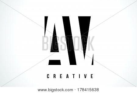 Av A V White Letter Logo Design With Black Square.