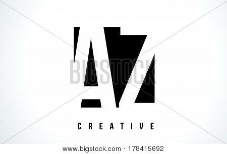 Az A Z White Letter Logo Design With Black Square.