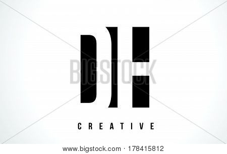 Dh D H White Letter Logo Design With Black Square.