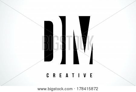 Dm D M White Letter Logo Design With Black Square.