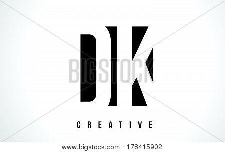 Dk D K White Letter Logo Design With Black Square.