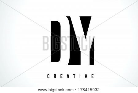 Dy D Y White Letter Logo Design With Black Square.