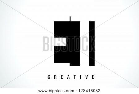Et E T White Letter Logo Design With Black Square.