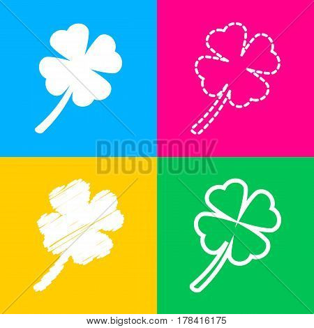 Leaf clover sign. Four styles of icon on four color squares.