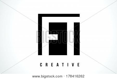 Ft F T White Letter Logo Design With Black Square.